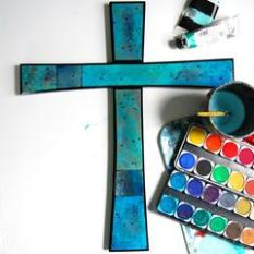 Painted blue cross by StudioJRU.